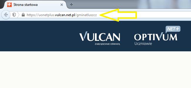 Wpisany adres URL systemu UONET w polu adresu przeglądarki Internetowej.