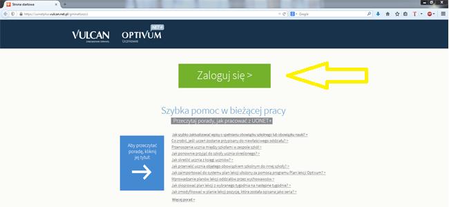 Strona WWW systemu UONET przed logowaniem do e-Dziennika.